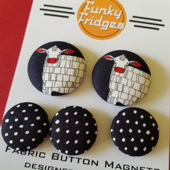 Black & White Cows Flat Magnet Set