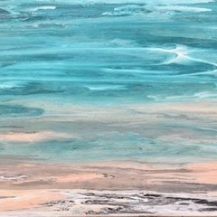 Original abstract coastal textured painting, Free Shipping Australia