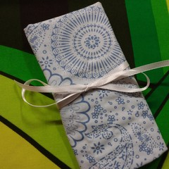 Crochet Hook Handy Wrap-Blue modern print REDUCED PRICE