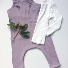 "Lilac Muslin""Knot Overall"" size 2"