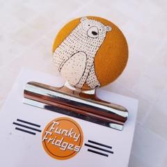 White Bear Magnetic Bulldog Clip