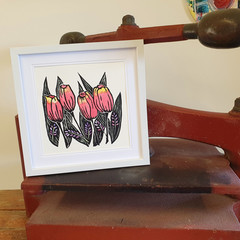 Pink Tulips - Original linoprint - Floral Wall Art - Handprinted Flower Painting