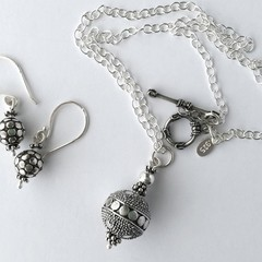 Boho oxidized sterling silver drop earrings and pendant necklace set