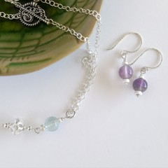 Sterling silver & round fluorite dangle earrings and pendant necklace set