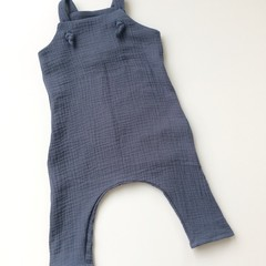 "Dark grey Muslin""Knot Overall"" Size 2"