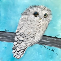 Baby owl unique painting on canvas - Free Shipping Australia