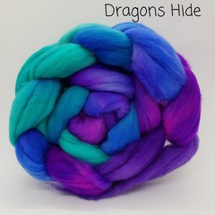 Hand Painted Wool Roving- DRAGONS HIDE