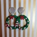 Christmas wreath dangle earings large