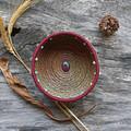 "Handwoven Pine Needle Spiritual Healing Basket ~ ""Ruby Zoisite"""
