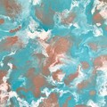 Modern abstract painting - turquoise, copper, white, Free Shipping Australia