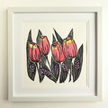 Pink Tulips - Original linoprint - Floral Wall Art - Handprinted Flower Painting