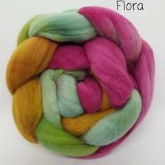 Hand Painted Wool Roving- FLORA