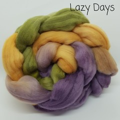Hand Painted Wool Roving- LAZY DAYS