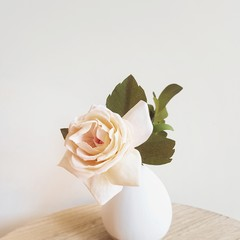 White rose, single stem || home decor, coffee table decoration.