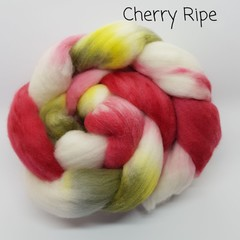 Hand Painted Wool Roving- CHERRY RIPE