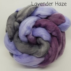Hand Painted Wool Roving- LAVENDER HAZE
