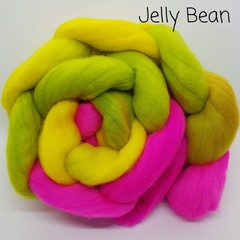 Hand Painted Wool Roving- JELLY BEAN