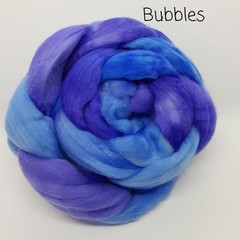 Hand Painted Wool Roving- BUBBLES