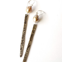 Spear and Pearl drop Earrings