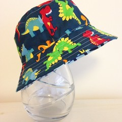 Boys summer hat in colourful dino fabric