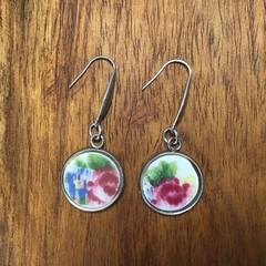Watercolour Monet style earrings