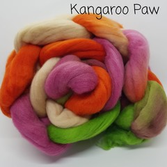 Hand Painted Wool Roving- KANGAROO PAW
