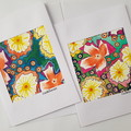 Set of Two, Hand Painted, Water Colour and Ink, Paintings as Art Cards