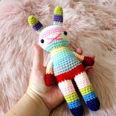 children rabbit toy, crochet amigurumi doll, bright colorful rainbow .. NEWCASTL