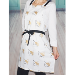 Cat Gold and Black Womens Handmade Kitchen Apron