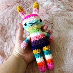 children rabbit toy, crochet amigurumi doll, bright colorful rainbow .. SYDNEY