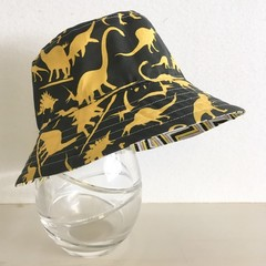 Boys summer hat in black & yellow dino  fabric
