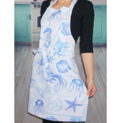 Beach Blue and White Womens Kitchen Apron