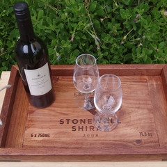 Rustic Wine Panel Recycled Timber Tray - Barossa Valley Peter Lehmann Stonewall