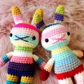children rabbit toy, crochet amigurumi doll, bright colorful rainbow .. NEWCASTL