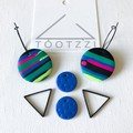 """Lets Go Disco"" 5-way Texture Hoops - Electric Blue + Triangle"