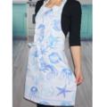 Beach Blue and White Womens Kitchen Apron