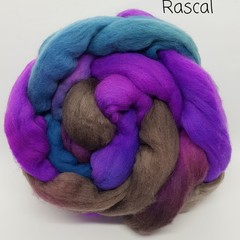 Hand Painted Wool Roving- RASCAL