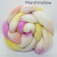 Hand Painted Wool Roving- MARSHMELLOW