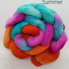 Hand Painted Wool Roving- SUMMER