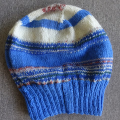 Hand knitted blue and white fairisle wool blend beanie, brand new, never worn