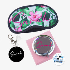 Beauty Gift Packs - Eye Mask Jewelled Mirror and Personalised Keyring