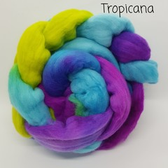 Hand Painted Wool Roving- TROPICANA