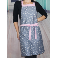 Grey and Pink Womens Handmade Kitchen Apron