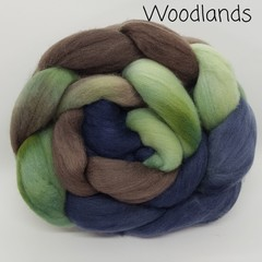 Hand Painted Wool Roving- WOODLANDS
