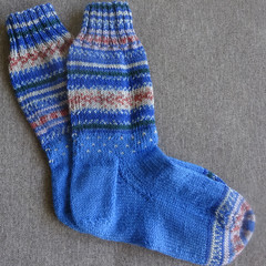 Hand knitted blue fairisle 4 ply wool blend socks, brand new, never worn.