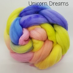 Hand Painted Wool Roving- UNICORN DREAMS
