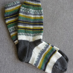 Hand knitted winter 4 ply wool blend socks, brand new, never worn.