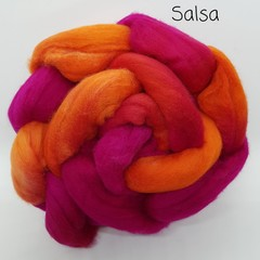 Hand Painted Wool Roving- SALSA