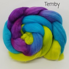 Hand Painted Wool Roving- TEMBY