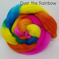 Hand Painted Wool Roving- OVER THE RAINBOW